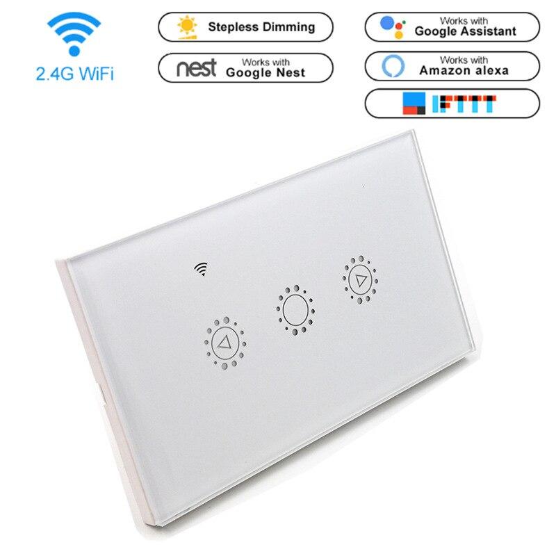 Nos blanco estándar WIFI control remoto inteligente Dimmer táctil de interruptor Alexa Google Tmall inteligente Dimmer interruptor con APP
