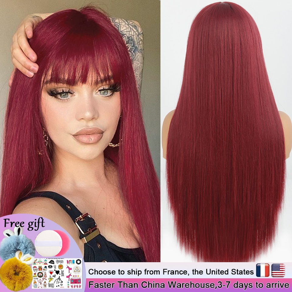 Long Straight Wine Red Wig With Bangs Synthetic Hair Wigs Bang With Wig For Women Wine Red Heat Resi