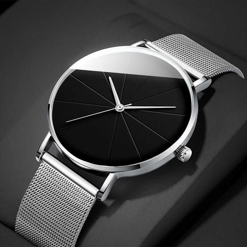 2021 Minimalist Men's Fashion Watches Simple Men Business Ultra Thin Stainless Steel Mesh Belt Quartz Watch reloj hombre