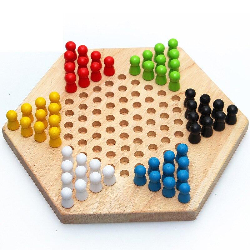 Деревянные шестигранные шашки головоломка настольная игра родитель-ребенок интерактивная игра головоломка ручная работа Мозга Игрушка