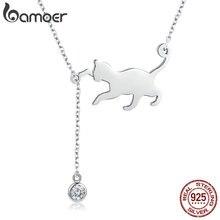 Bamoer Fashion Echt 925 Sterling Zilveren Leuke Pet Pussy Kat Ketting Hanger Ketting Voor Vrouwen Sterling Zilveren Sieraden SCN232