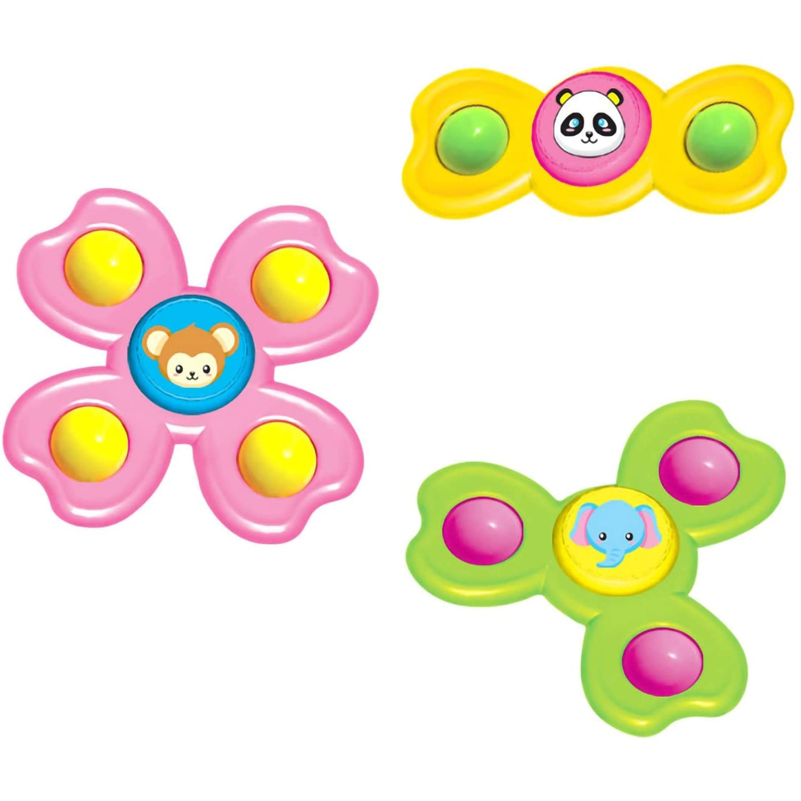 New 3PCS/set Baby Spinning Tops Toy Animal Hand Spinner Toys With Suction Cups Windmill Spinner Baby Stress Decompresssion Toys enlarge