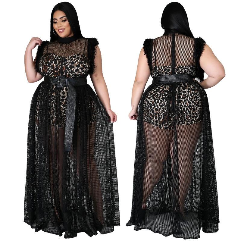 فستان صيفي نساء حجم كبير فستان شبكي مع ليوبارد بطانة شفافة نادي حفلة مثير ماكسي فساتين بالجملة دروبشيبينغ