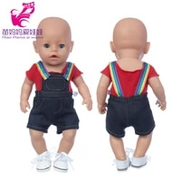 baby doll clothes 43cm red t shirt overalls pants for 18 girl dolls clothes toys outwears