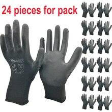 Guantes de trabajo de seguridad, de algodón y nailon, Pu, negro, protección Industrial, proveedor de marca NMSafety, 24 unidades/12 pares
