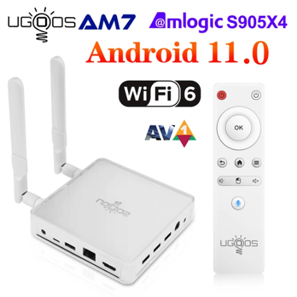 Ugoos AM7 مربع التلفزيون الذكية الروبوت 11 Amlogic S905X4 2.4G 5G WiFi6 4GB DDR4 32GB ROM USB-C 1000M بلوتوث 4K HD TVBOX AV1