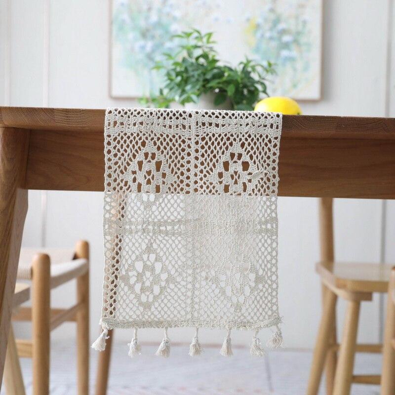 Mantel de ganchillo ahuecado bandera mantel de algodón de lino camino de mesa estera gabinete cubierta negro Beige mantel para la decoración del hogar de la boda