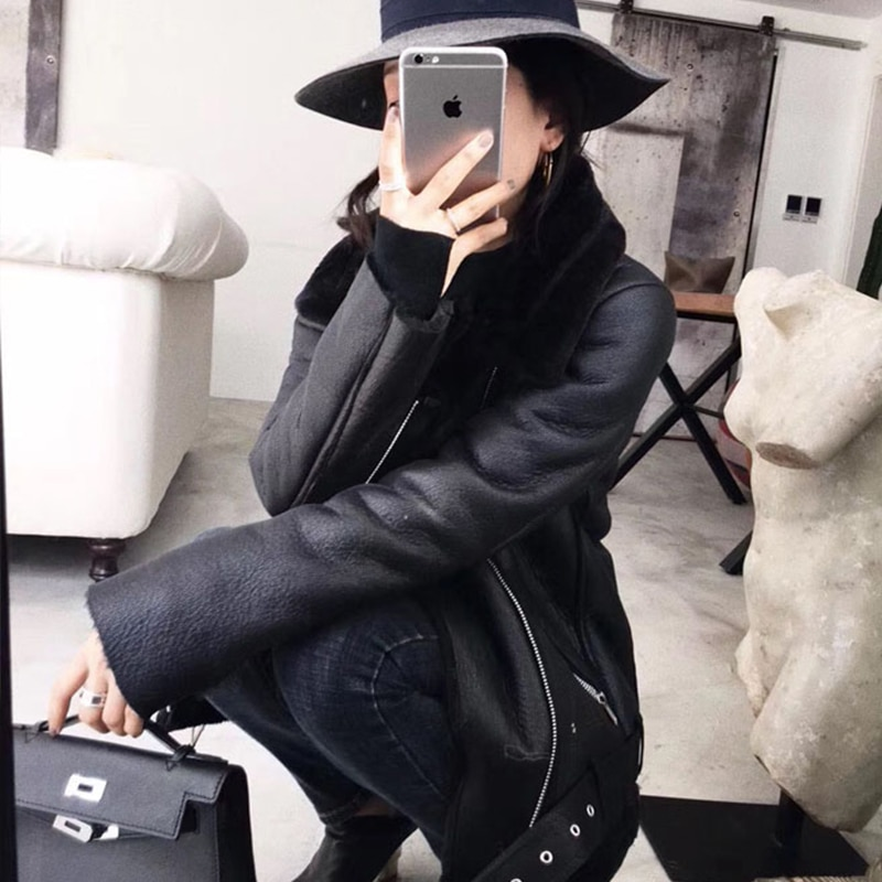 2020 Winter Coats Women Thick Faux Leather Fur Sheepskin Coat Female Fur Leather Jacket Aviator Jacket Casaco Feminino enlarge