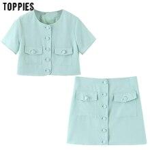 Toppies été ensemble court vert deux pièces ensemble pour les femmes à manches courtes hauts courts taille haute mini jupes