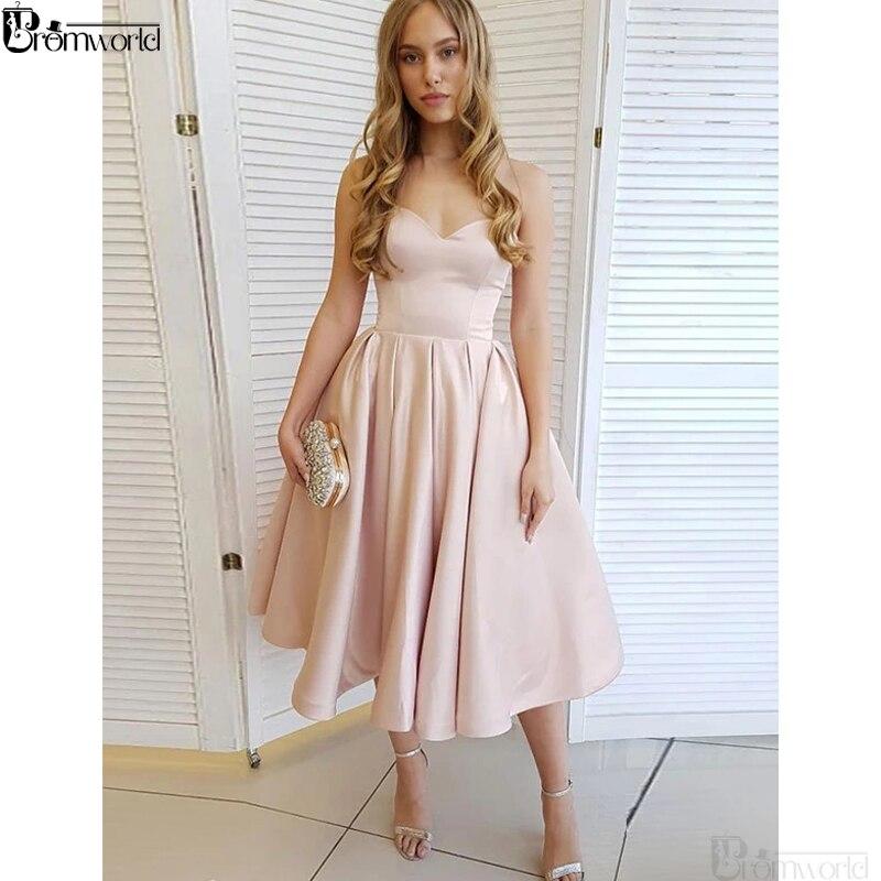 2021 Бальные платья Чай Длина Милая Атласное Платье трапециевидной формы