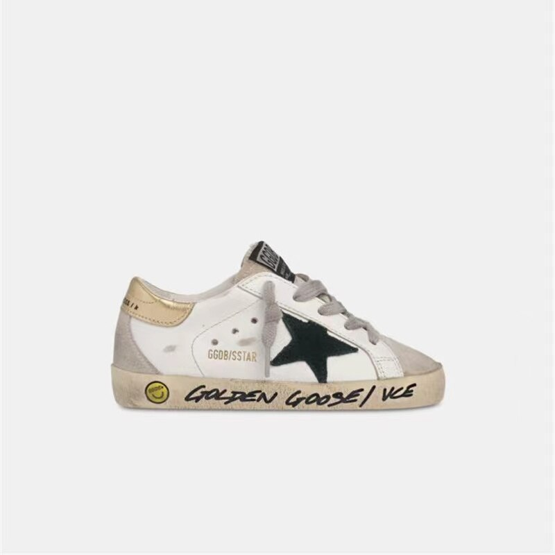 Children's Spring New First Layer Cowhide Old Small Dirty Parent-Child Shoes for Boys and Girls Hand-Painted Graffiti Shoes QZ06 enlarge