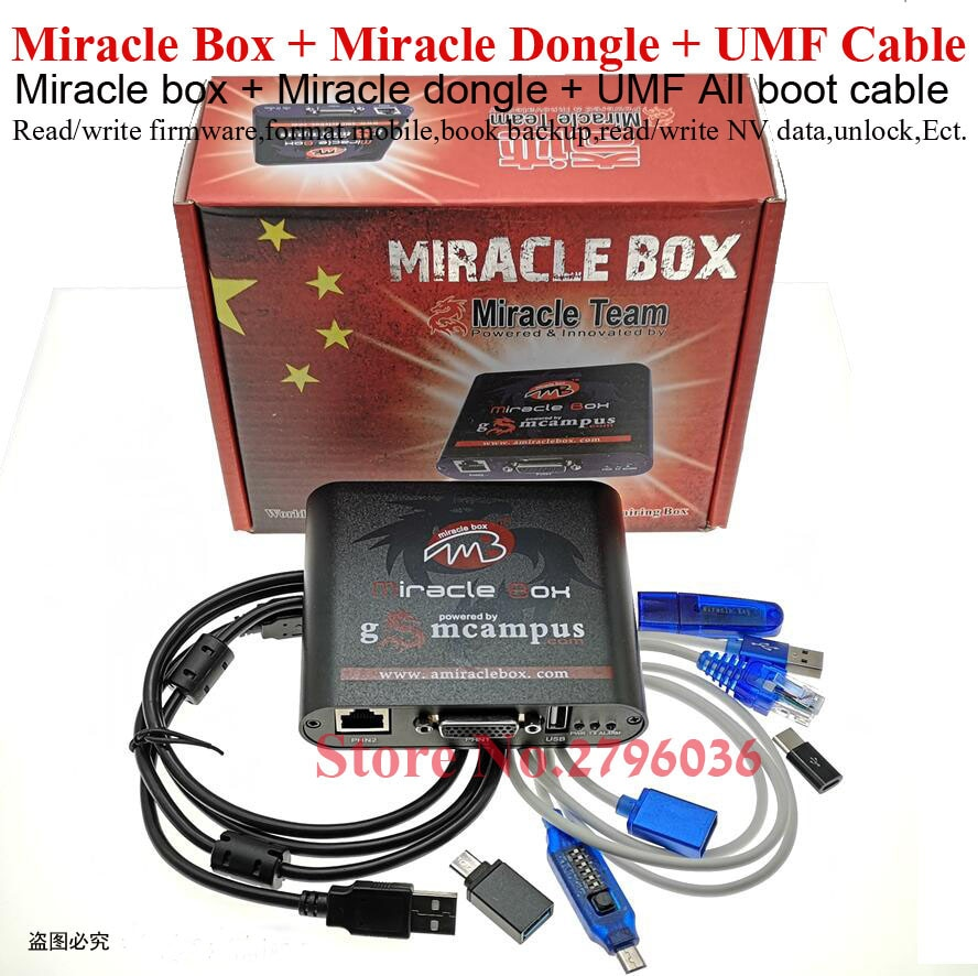 2020 original Miracle Box + Miracle Key Dongle + UMF todo el cable de arranque para teléfonos móviles de china desbloquear reparación desbloqueo