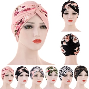 Turban Hat Cotton Print Muslim Turban Scarf Women Islamic Inner Hijab Cap Arab Wrap Head Scarves Femme Turbante Hair Accessories