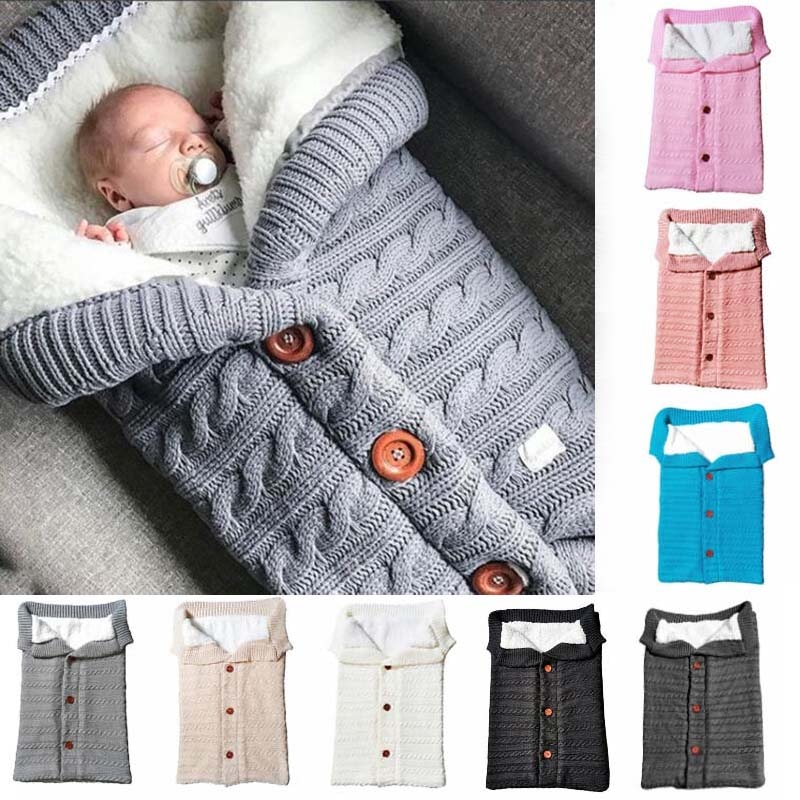 Autumn and Winter Baby Stroller Sleeping Bag Outdoor Button Baby Knitted Sleeping Bag Wool Brushed and Thick Baby's Blanket