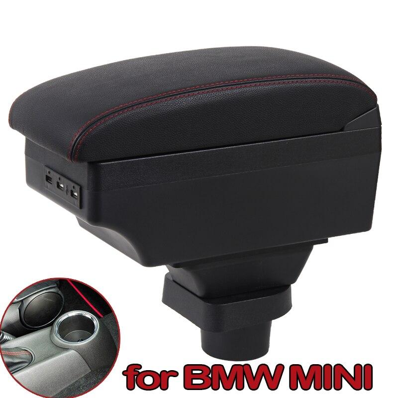 Para MINI Cooper R50 R52 R53 R56 R57 R58 F55 F56 F57 compatriota R60 F60Central reposabrazos caja de almacenamiento de accesorios de modificación