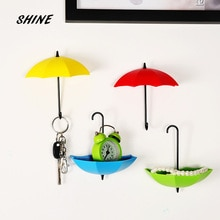 SHINE F 3PCs Umbrella Wall Hook Key Hair Pin Holder Colorful Organizer Decor Decorate bottoni botoes New Arrival