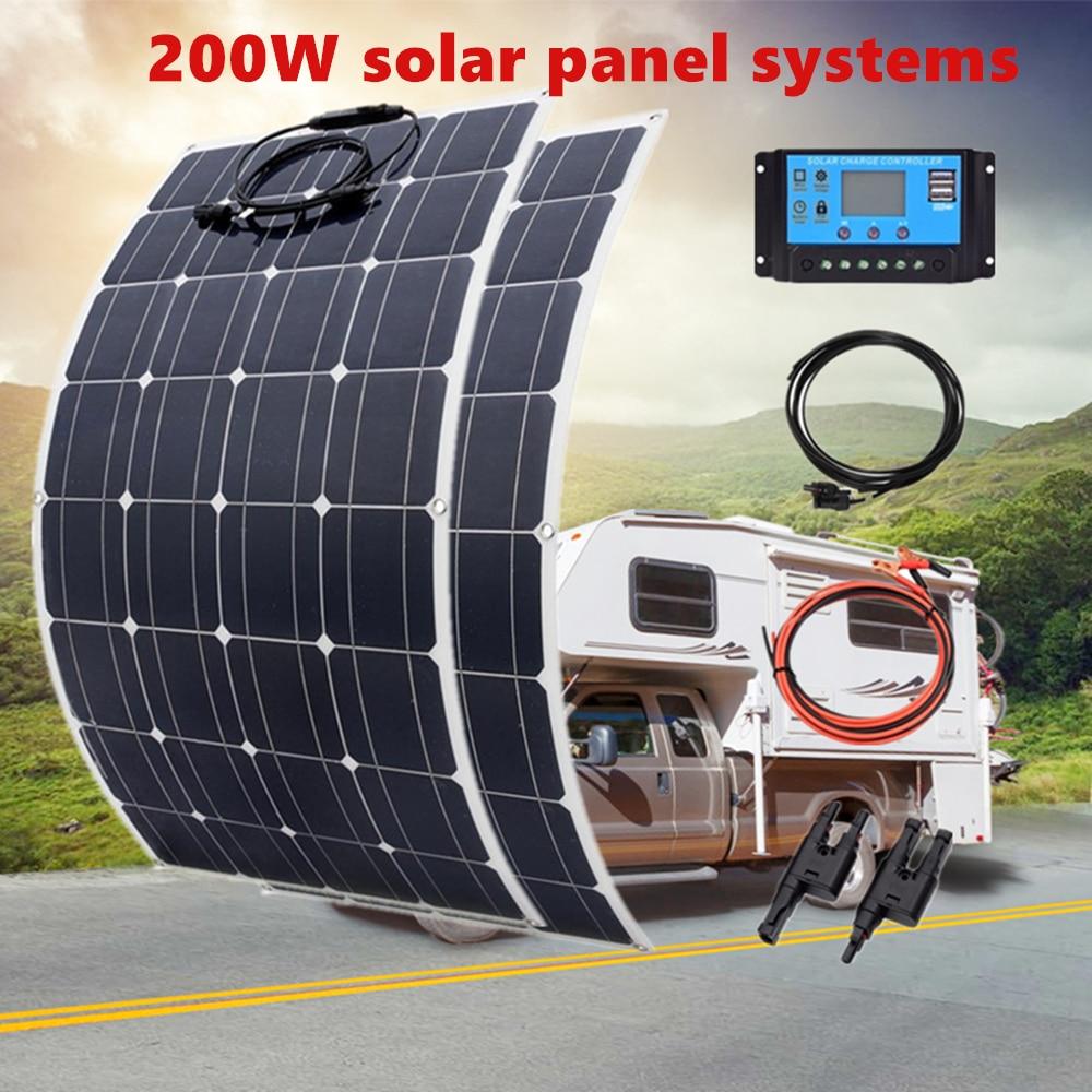 مجموعة الألواح الشمسية الكاملة 12 فولت 100 واط 200 واط شاحن بطارية لقارب السيارة RV سقف القافلة المنزل الطاقة الكهروضوئية النظام 1000 واط 12 فولت / 24 ...