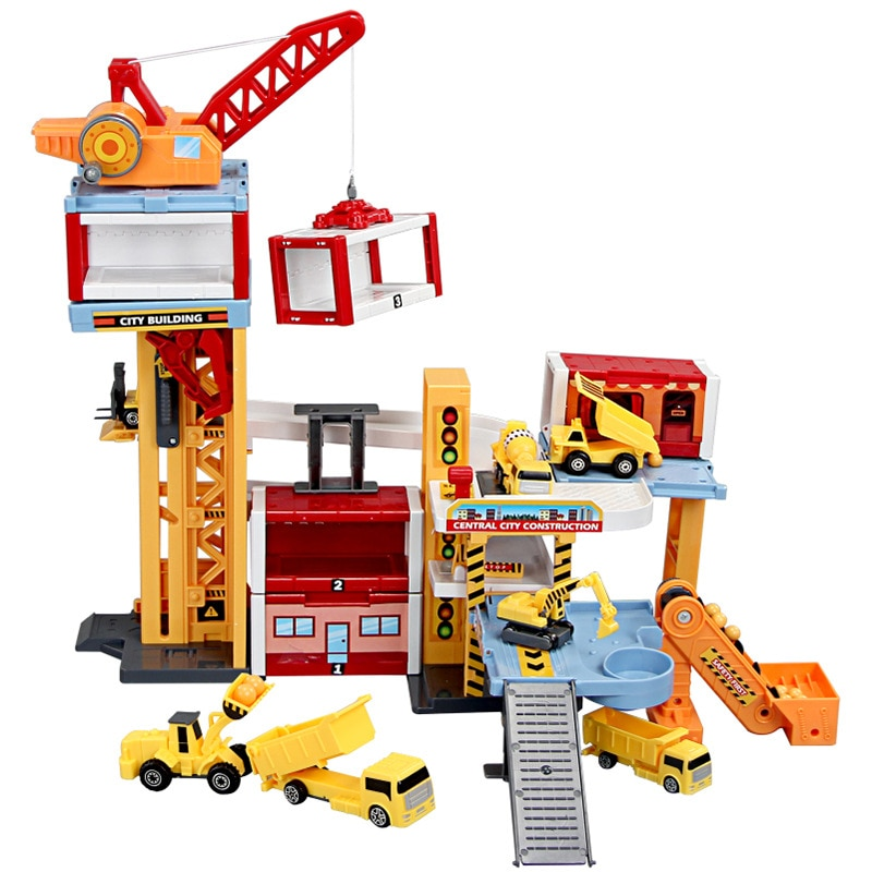 Крана трек-сцена на строительной площадке в конструкции технические средства передвижения в автомобилестроении для стоянки