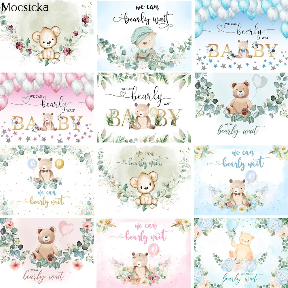 Bear Party Baby Shower Backdrops Can We Bearly Wait Photography Background Green Leaves Newborn Cake Table Decor Props Photocall allenjoy photography backdrops background stage dancers pink green bokeh watercolor baby shower newborn props spring princess