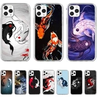 ying yang koi fish phone case for iphone 5 se 2020 6 6s 7 8 plus x xr xs 11 12 mini pro max fundas cover