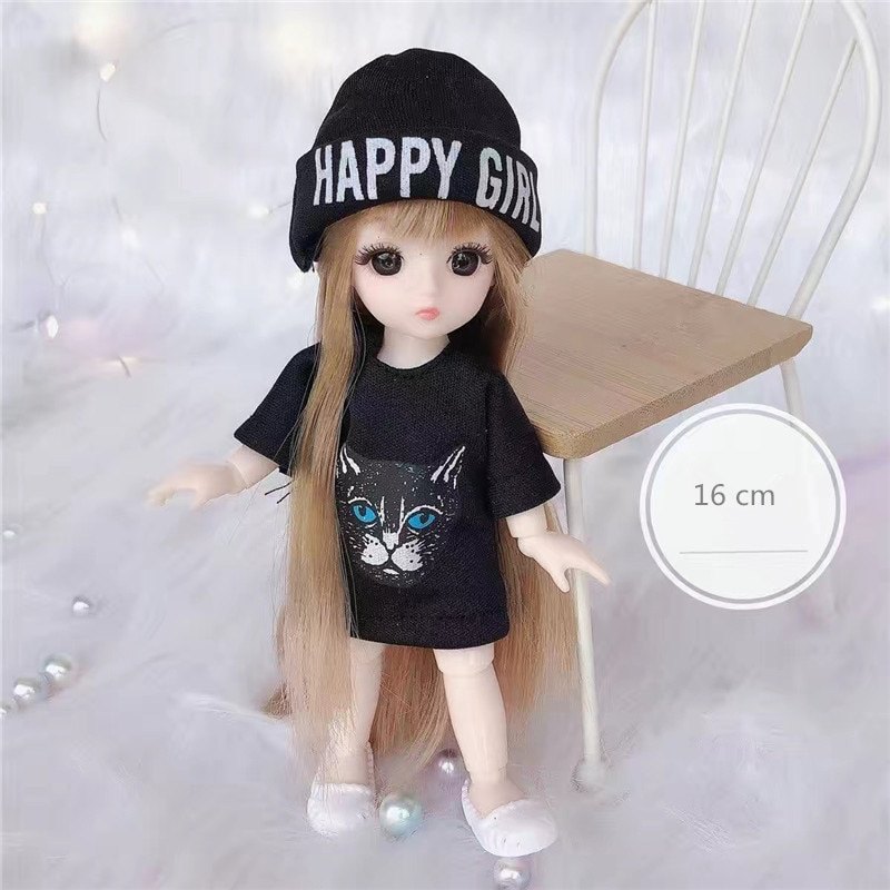 BJD Mini 16cm Doll 13 Movable Joints 1/12 Multi-color Hair Princess Doll and Clothes Can Dress Up Girls DIY Toys Birthday Gifts