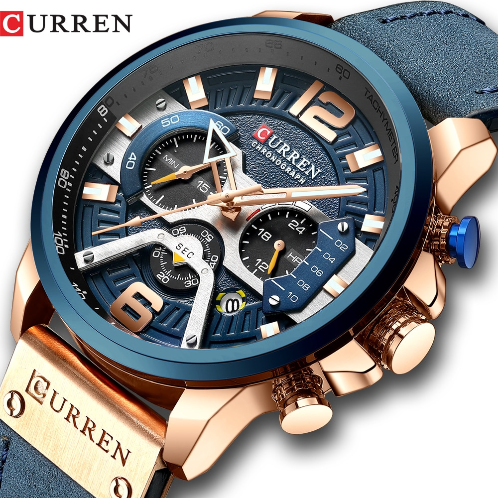 CURREN Casual Sport Watches for Men Blue Top Brand Luxury Military Leather Wrist Watch Man Clock Fas