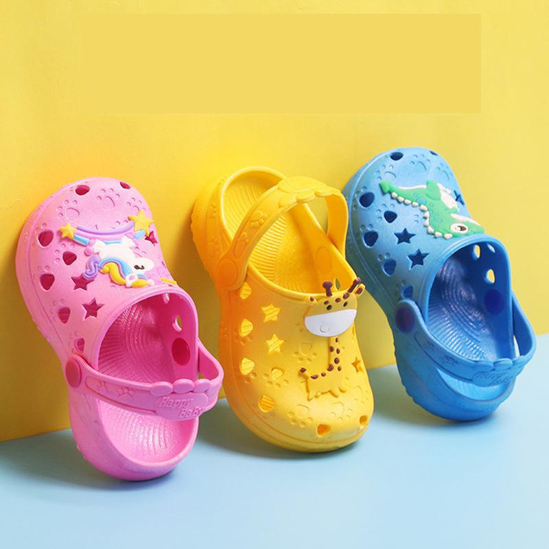 0-7 Years Kids Mules & Clogs Summer Baby Boys Girls Croc Sandals Flat Heels Solid Cartoon Slippers C