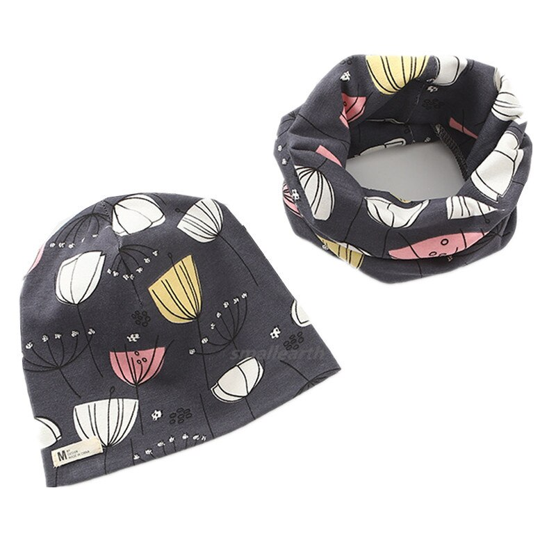 New Winter Baby Cap Set Cartoon Fish Stars Baby Head Cover Spring Warm Neck Collar Kids Beanies Sets