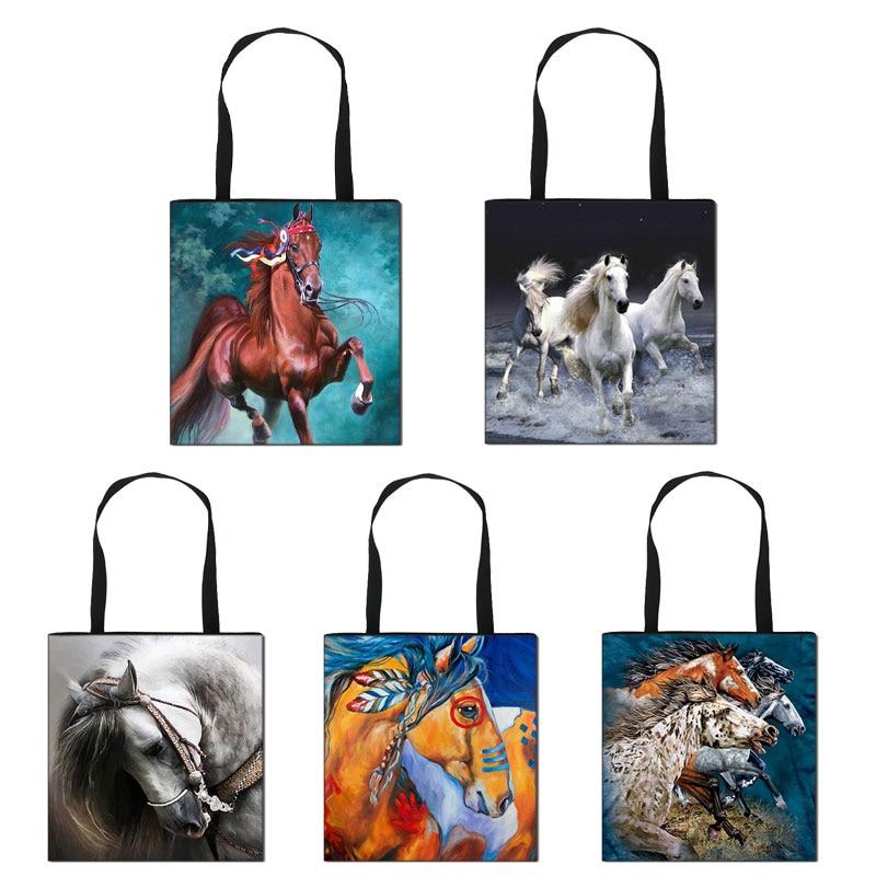 Exclusive Animal Horse Print Canvas Shopping Bag Folding Reusable Traveling School Bags Casual Handbags For Women Girls bookBag