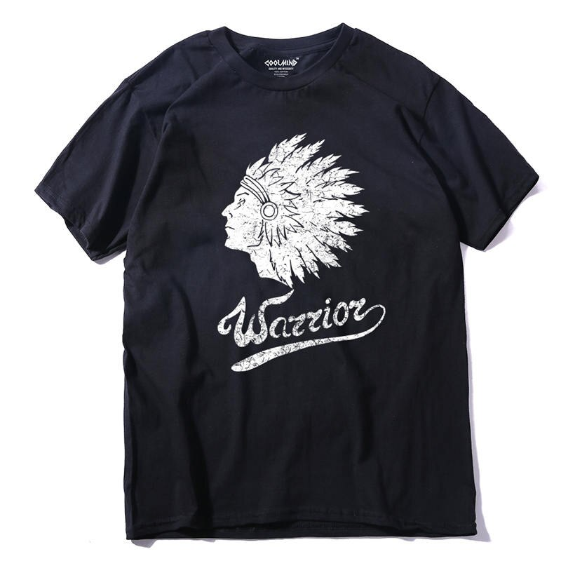 Coolmind Qi0120a Cool 100% de algodón indio de manga corta para hombres camiseta impresa para hombres camiseta Casual de cuello redondo para hombres