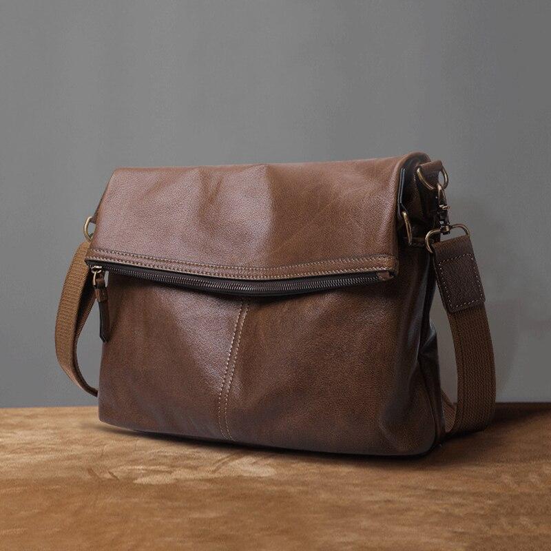 Bandoleras de piel auténtica Vintage para hombre, bolsos de mensajero de piel de vaca, bolso de cuero