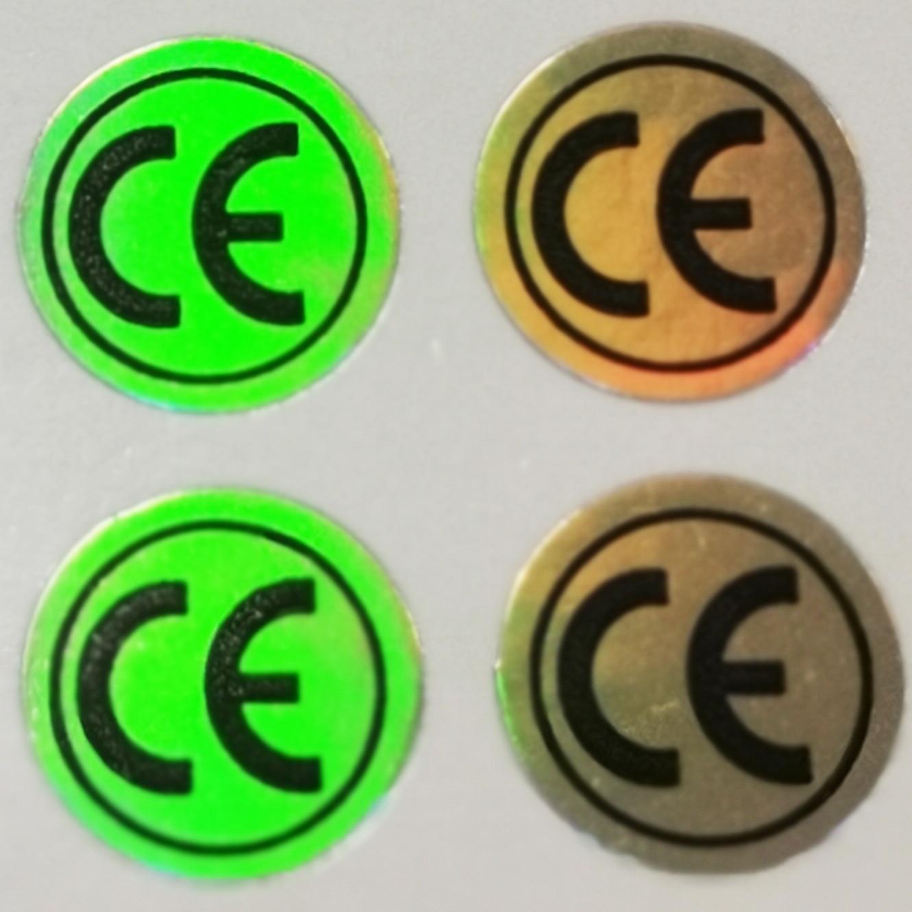 2000 unids/lote 10mm holograma brillante CE signo autoadhesivo holograma etiqueta Artículo No.FA01