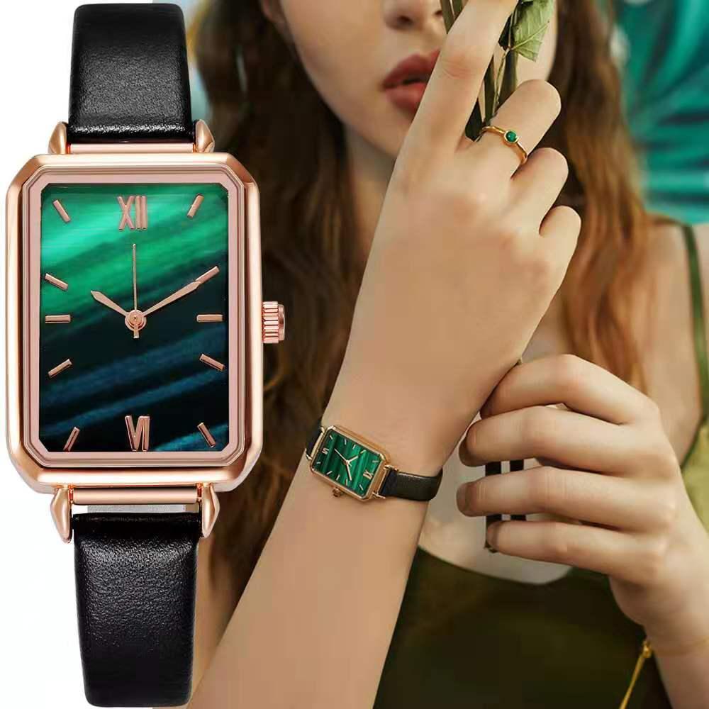 WOKAI Brand Women Watches Fashion Square Ladies Quartz Watch Bracelet Set Green Dial Simple Rose Gol