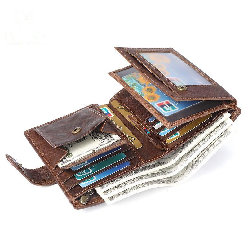 محفظة صغيرة من الجلد مع بطاقة ، أسود ، قهوة ، حقيبة رفيعة ، سحاب ، هدية للرجال