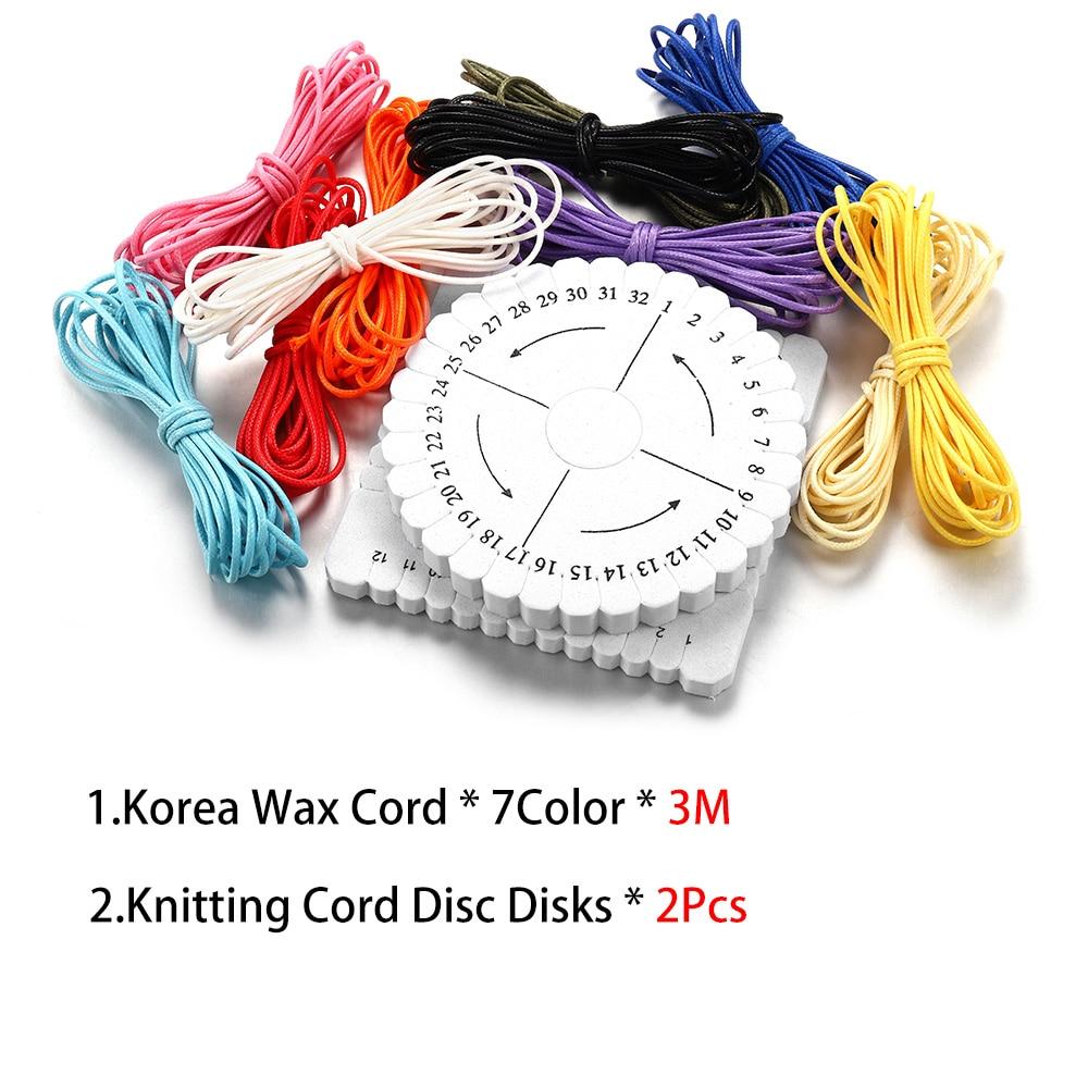 9 unids/set cordón encerado hilo de algodón cordón disco collar cuerda para Kit para hacer joyas DIY pulsera suministros conjuntos