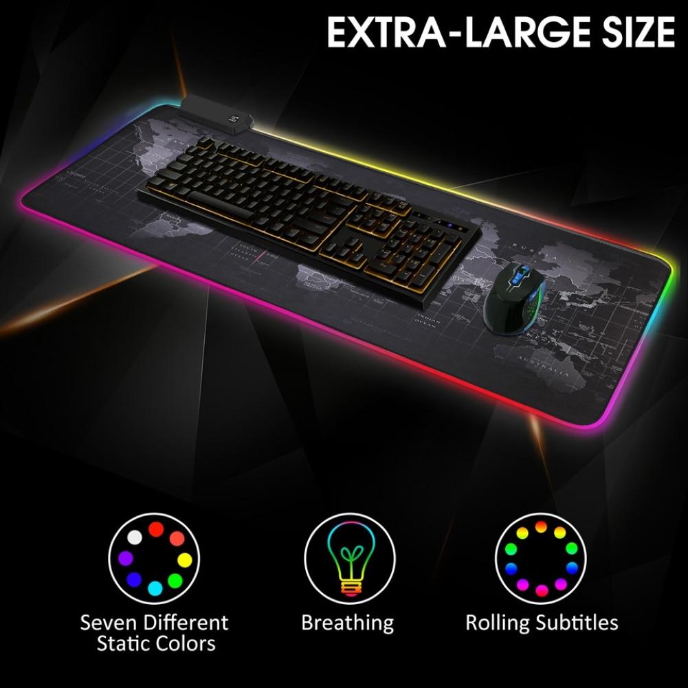 مضيئة RGB LED أضواء سطح المكتب الألعاب ماوس الوسادة وسادة ملحقات الكمبيوتر هدية
