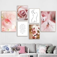 pink rose apricot blossom line woman quote wall art canvas painting nordic posters and prints wall pictures for livig room decor