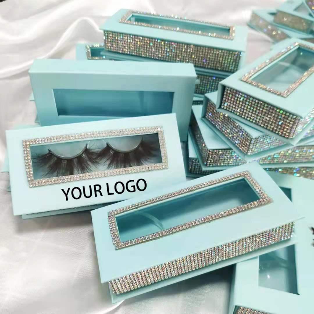 Wholesale 100 Boxes Print Logo Empty Diamond Magnet Lash Packaging Case with Tray 3D 25mm Mink Eyelash Box