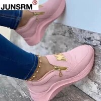 2021 women chunky sneakers solid color platform shoes thick bottom zipper womens vulcanized shoes sneakers zapatos de mujer