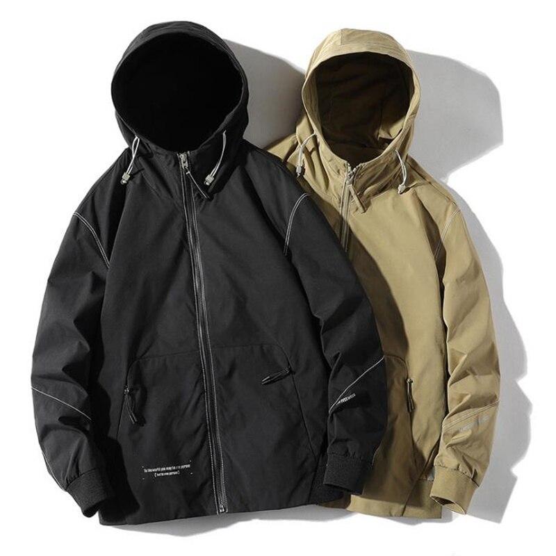 جديد وصول نوعية جيدة الربيع الخريف الرجال سترة معطف بسيط موضة عادية فضفاض الترفيه الصلبة أنيق مقنعين الذكور الشباب القمم