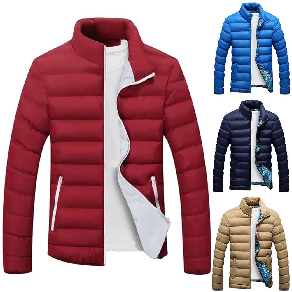 De talla grande hombres, Color sólido, de cremallera de cuello de manga larga Chaqueta de algodón acolchado abrigo, chaqueta de invierno para hombres, куртка мужская зимняя