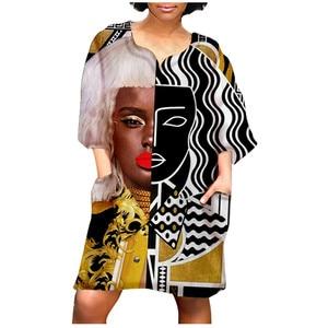 Dresses Half Sleeve African Vintage Print V Neck Knee-length Sexy Dress Fashion Tank Dress Dress Women Casual Special Dress 2021