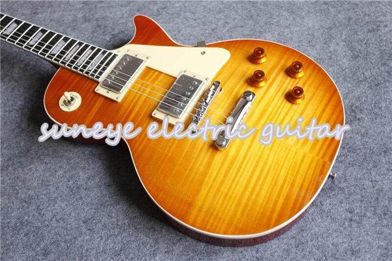 Suneye-Kit de Guitarra eléctrica de caoba, instrumento cromado, acabado brillante, tigre