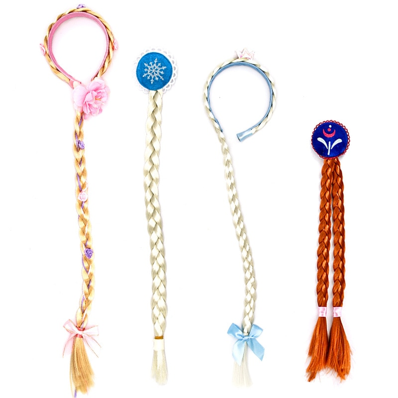 Girls Princess Dress Up Wig Children Cosplay Costume Accessories Elsa Anna Headband Hairpin Braid Ha