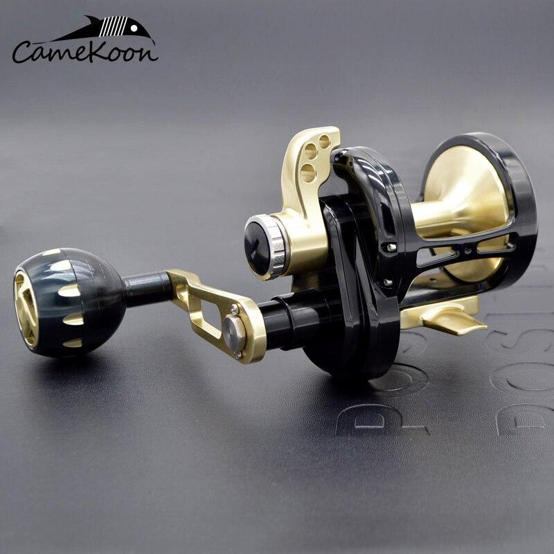 CAMEKOON CNC slow jigging reel boat reel 35kgs drag power left/right handle saltwater lever drag reel trolling big game reel enlarge
