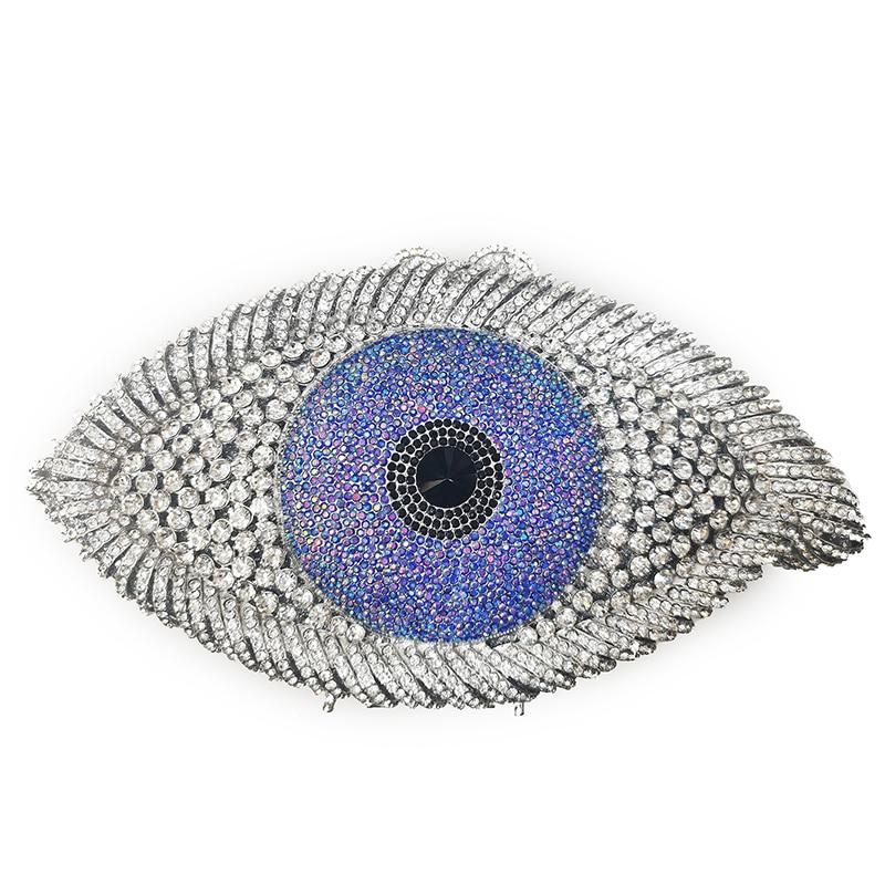 Bolso de mano de cristal rojo Metal dorado de lujo, nuevo bolso de mano con ojo de diamante de imitación a la moda para mujer, bolso de mano de hombro, bolsos de fiesta de China