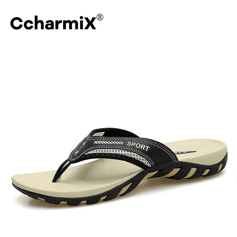 CcharmiX 2020 Summer Men Shoes Fashion Mens Flip Flops Trendy Anti-slip Leather Men Casual Shoes Classic Massage Beach Slippers