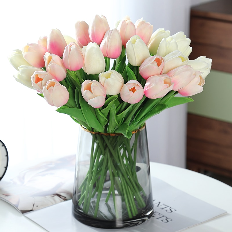 10 PCS Tulip Multicolor Real Touch Artificial Flower Bouquet Fake Flower for Wedding Home Hotel Decoration Flowers Garden Decor