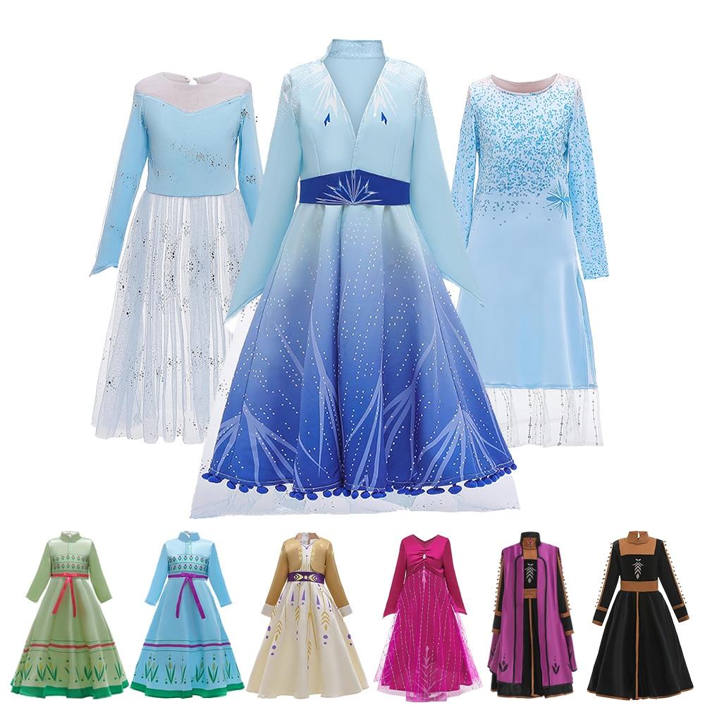 Elsa Dress Snow Queen 2 Dress For Girls Princess Christmas Cosplay Anna Dress Princess Set Birthday Party Long Sleeve Dress