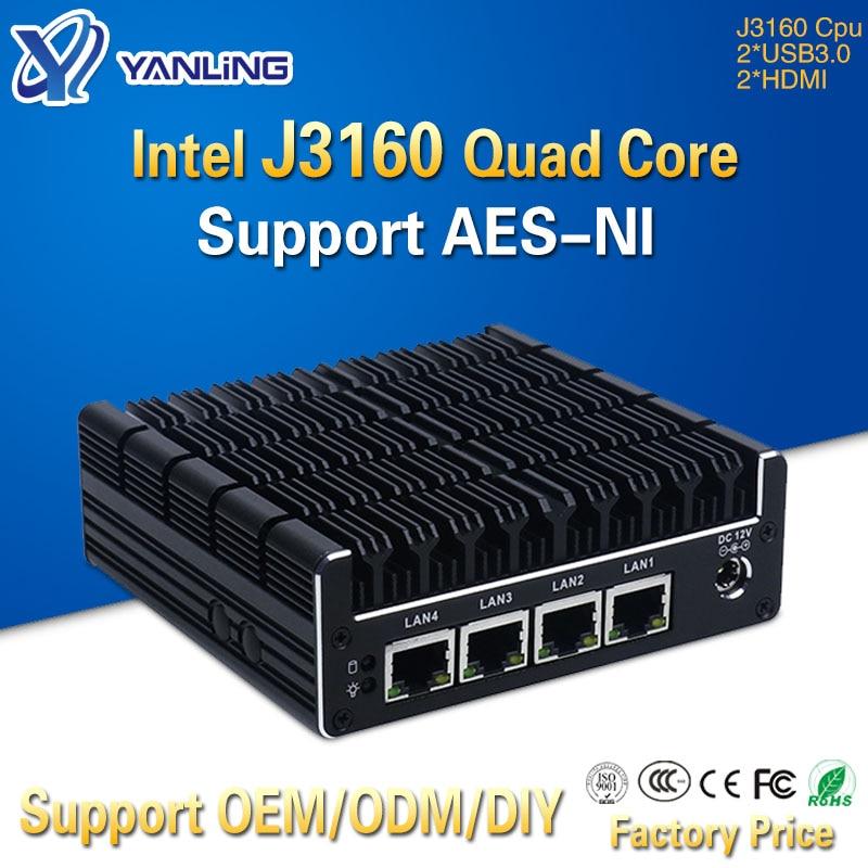 Yanling جديد NUC كمبيوتر صغير سيليرون J3160 رباعية النواة 4 إنتل i211AT نيك X86 الكمبيوتر لينة راوتر لينكس خادم دعم Pfsense AES-NI